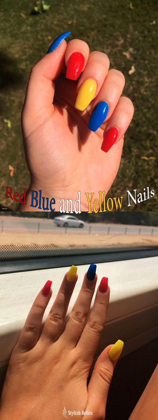 Yellow Blue And Red Acrylic Nails George S Blog