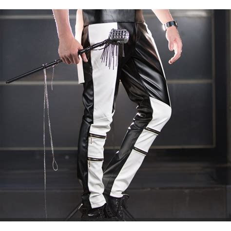 black  white patchwork long length leather mens man