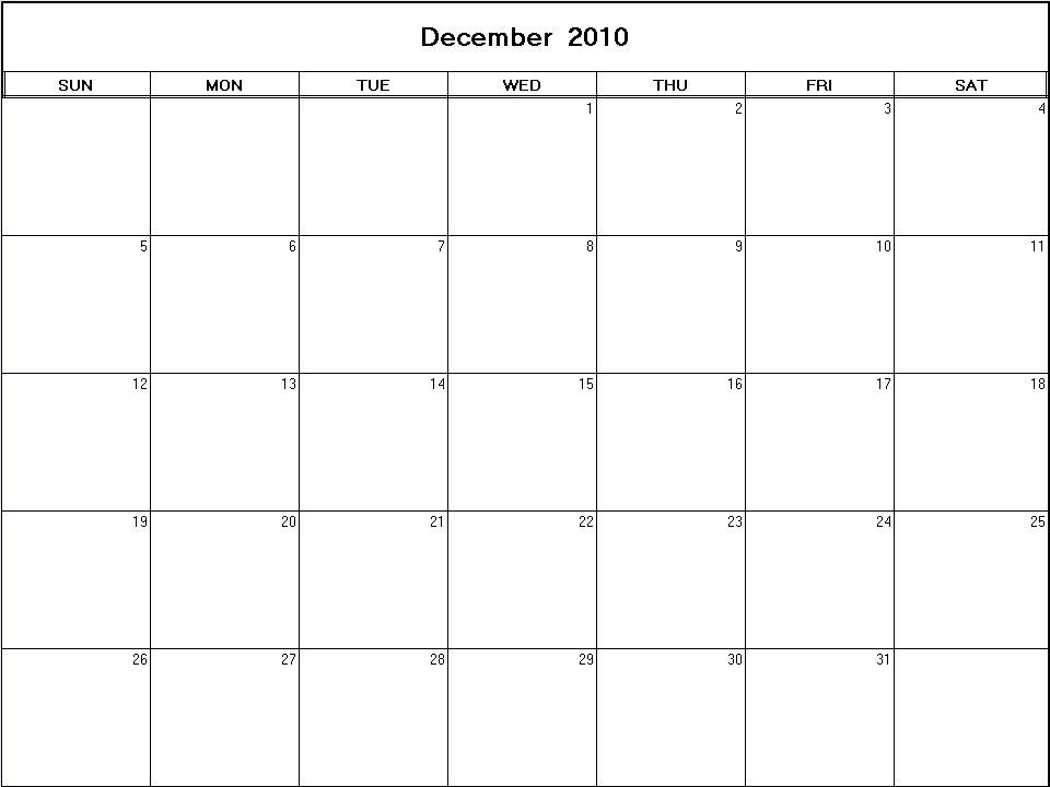 blank march calendar 2010. printable lank calendar image