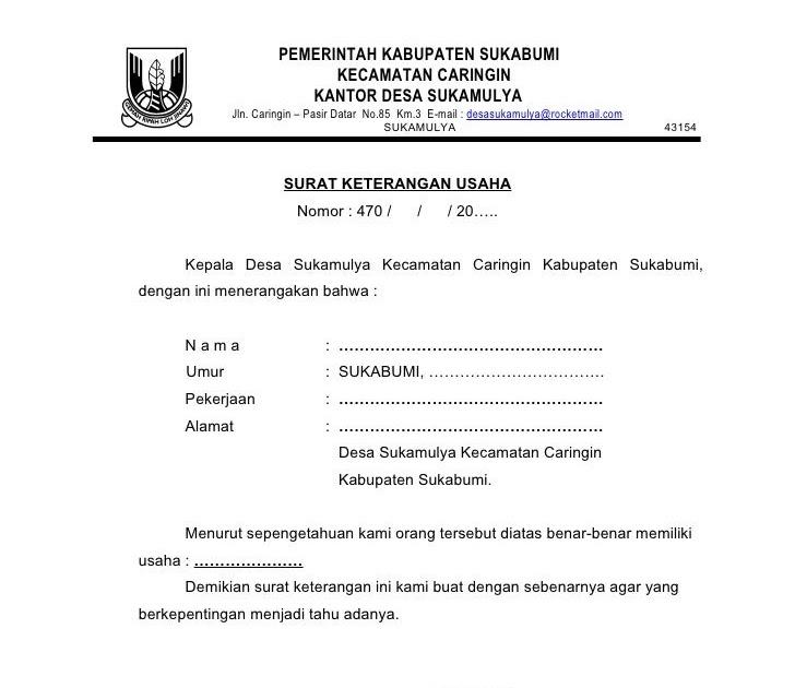 Surat Keterangan Usaha Dari Kepala Desa - Kumpulan Contoh ...