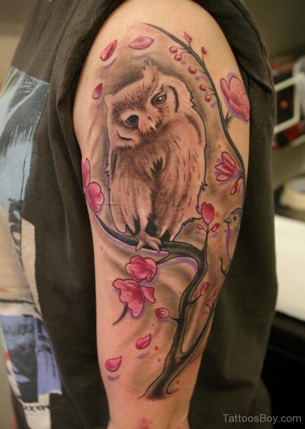 Owl And Cherry Blossom Tree Tattoo On Half Sleeve