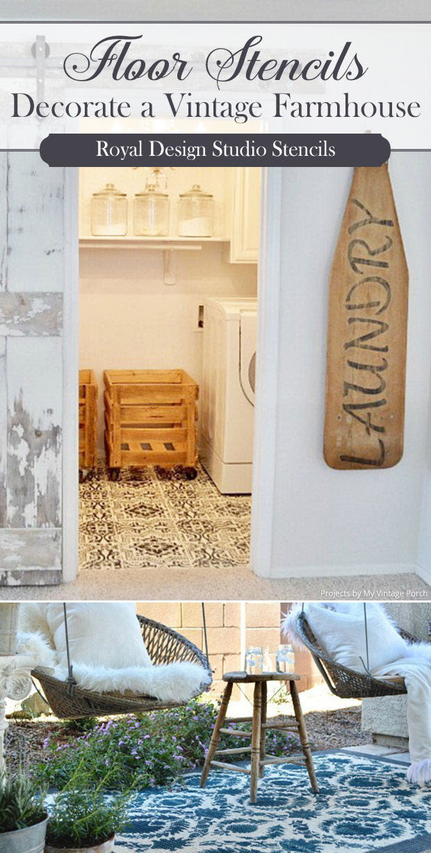 decorate a vintage farmhouse with floor stencils