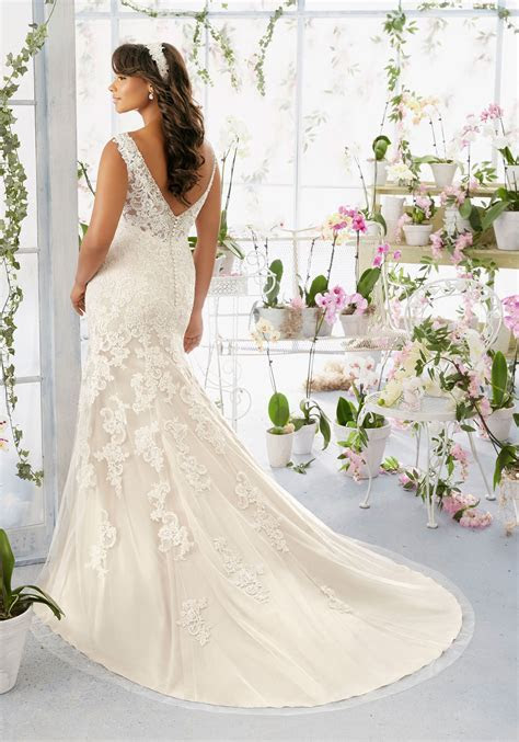 Diamanté and Pearl Beaded Edging on Net Morilee Bridal