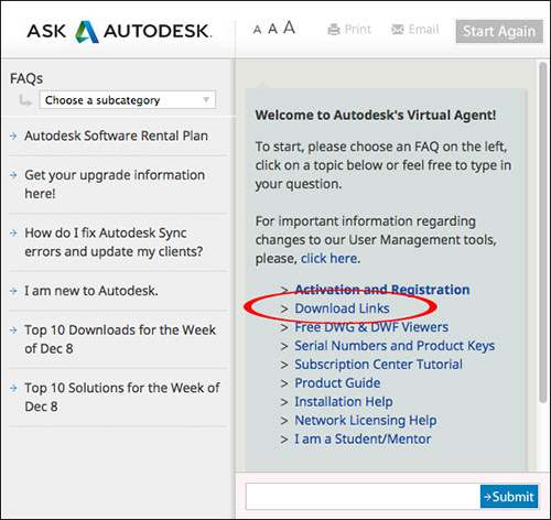 Image of the Virtual Agent with an option to access Download Links to download software.