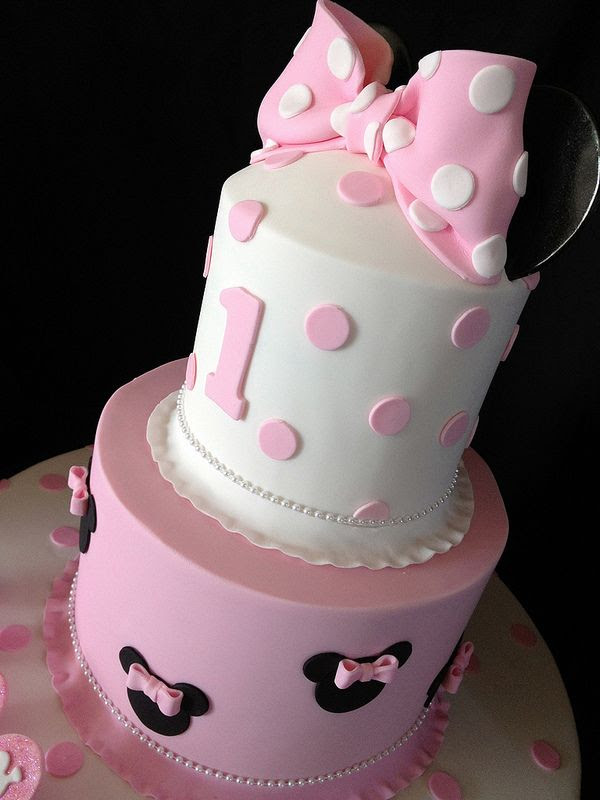 Pink Minnie Mouse First Birthday Cake