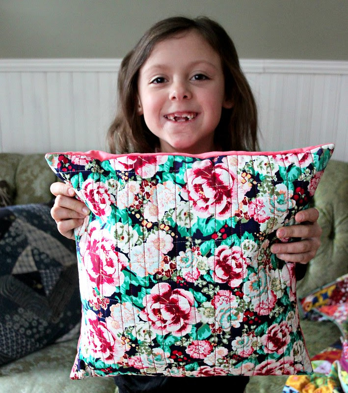 Haila's first quilted pillow!