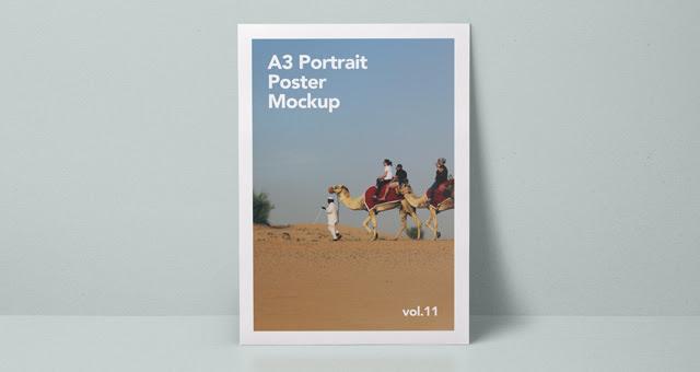 002 A3 paper poster portrait landscape mockup presentation psd vol 11