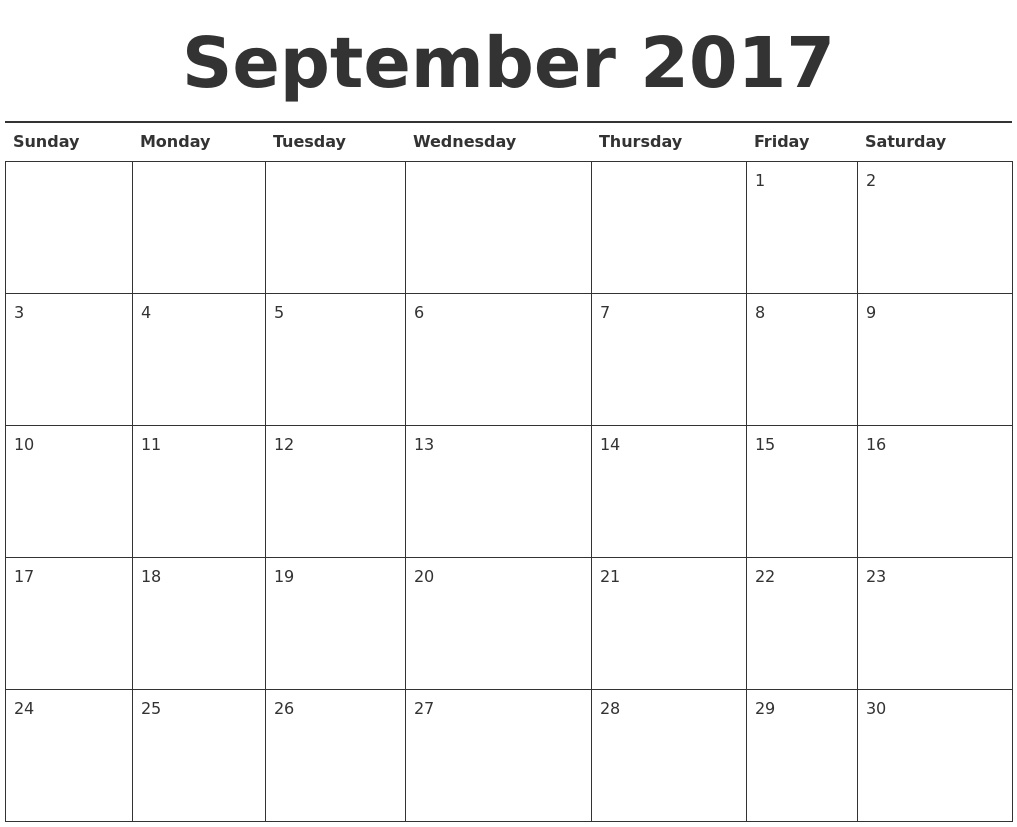 September 2017 Calendar Printable PDF39;s