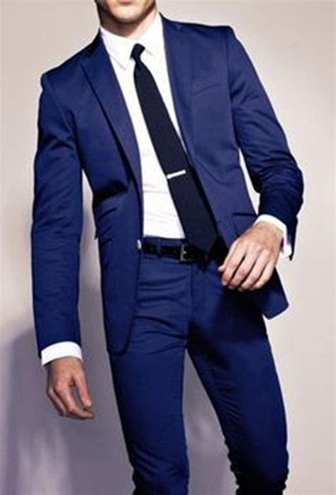 slim fit royal blue groomsmen suits custom  men suits
