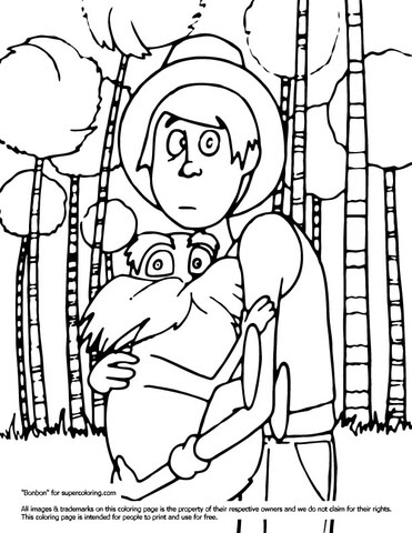 ted with lorax coloring page  supercoloring