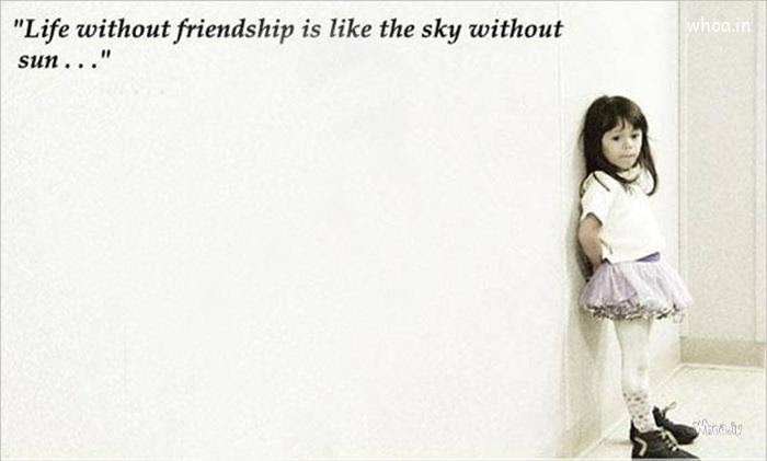 Happy Friendship Day Greetings Quote With Lonely Girl Hd Wallpaper