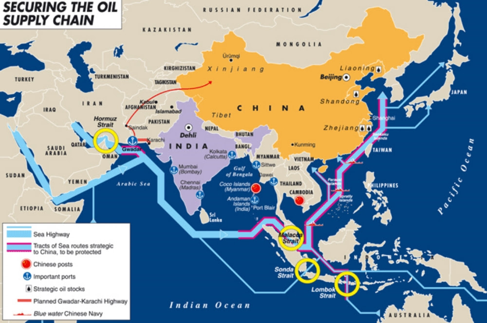 Map is from Heartland: Eurasian Review of Geopolitics viahttp://temi.repubblica.it/limes-heartland/securing-the-oil-supply-chain/887