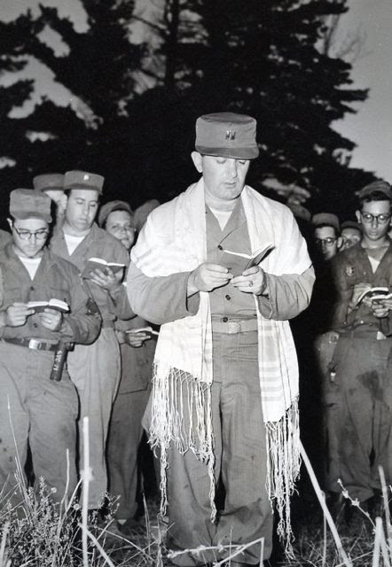 "Chaplain Avrech leads Jewish services during the Korean war. I once asked my father of what he was most proud during his service in the Army. He told me that once he led Protestant services because there was no Christian Chaplain available. ""I performed a real mitzvah,"" he said."