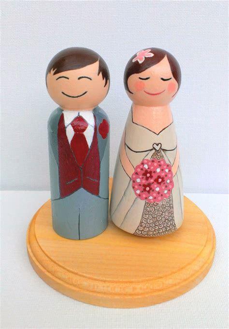 Peg People Wooden Hand painted Custom Wedding Cake Topper