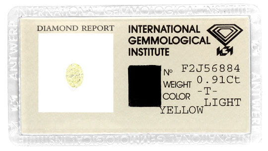 Original-Foto 1, DIAMANT IGI-ZERTIFIKAT ZITRONENFARBE LIGHT YELLOW