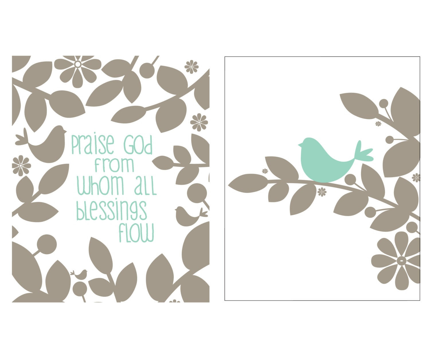 Praise God / Bird print set