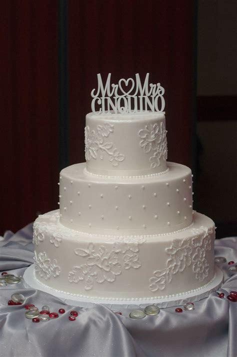 Three Tiered White Buttercream Wedding Cake