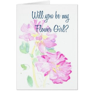 Pink Roses Flower Girl Request Card