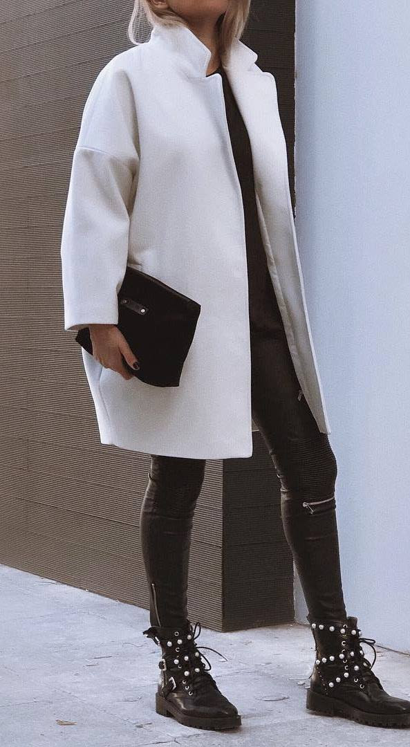 outfit of the day | coat + bag + top +boots + leather pants