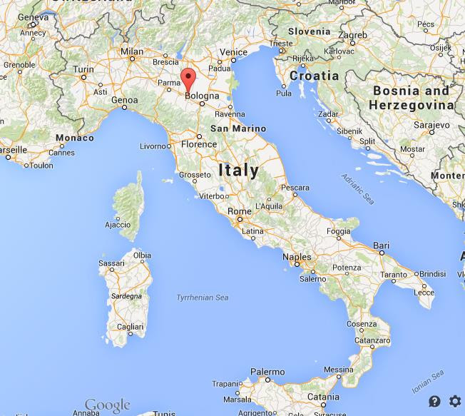 Whee is Modena on map of Italy