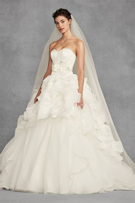 White by Vera Wang Tiered Organza Strapless Ball Gown