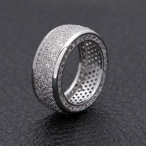 18K White Gold ICED OUT Lab Simulated Diamond Band