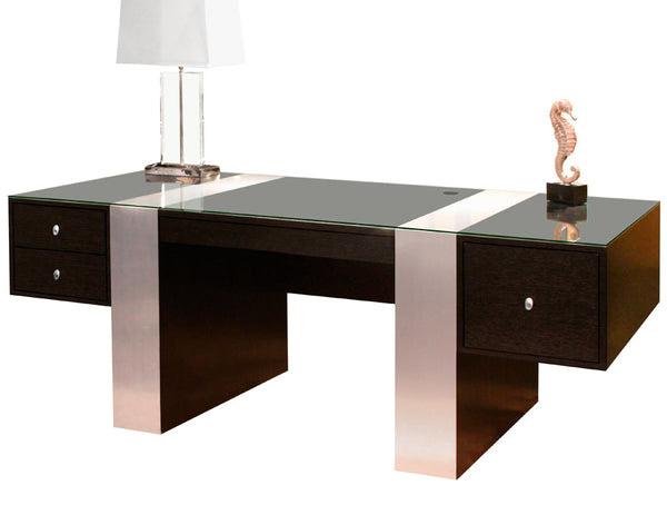 """78"""" Modern Executive Office Desk in Wenge & Brushed ..."""