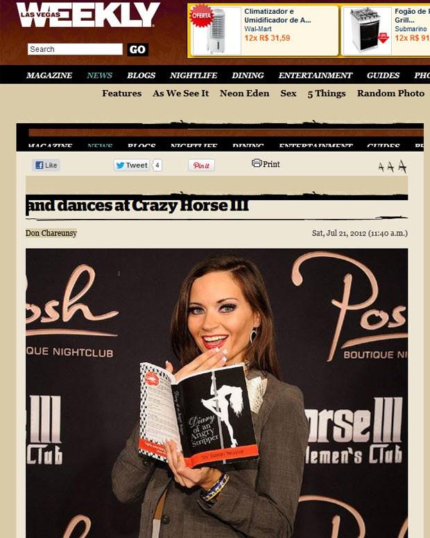 Sarah Tressler lançou um livro de memórias contando suas aventuras como repórter e stripper. (Foto: Reprodução)