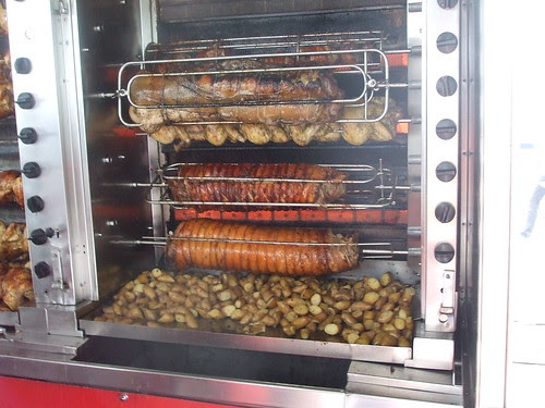 roast pork stand at the farmers' market