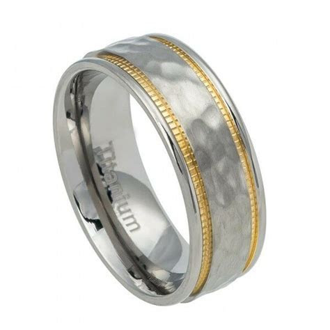 Men's Titanium Wedding Band Ring with Hammered and Yellow