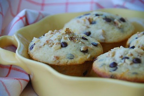 chocolate orange muffins yellow dish