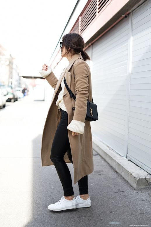 Le Fashion Blog Longline Coat Cream Sweater Leather Leggings White Sneakers Via Vienna Wedekind