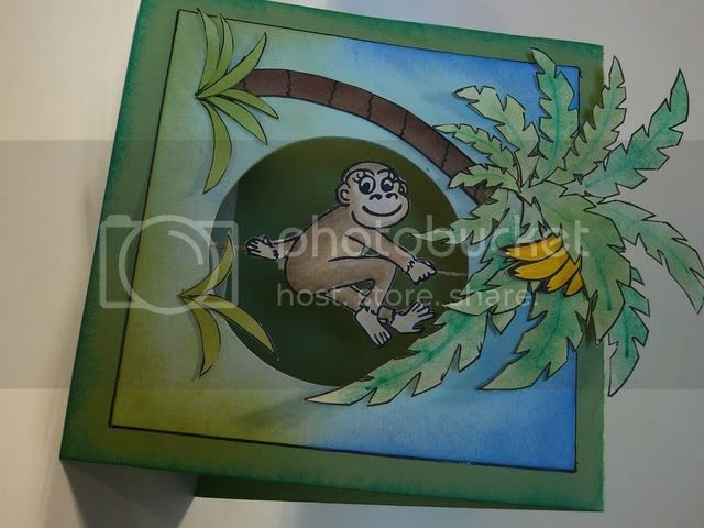 Monkey suspension card - Just So Hippy, Gina K Designs, Melanie Muenchinger