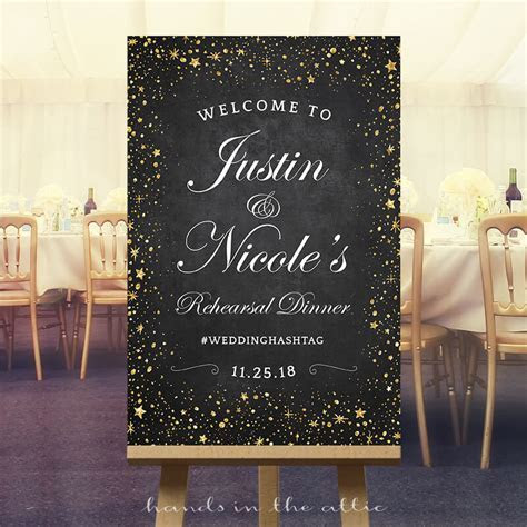 Wedding Rehearsal Dinner Sign   Starry Night Sky   Hands