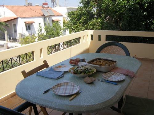 staycation balcony lunch vamvakopoulo hania chania