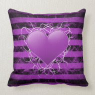 Gothic punk emo purple heart with black stripes throwpillow