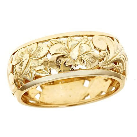 Hawaiian Heirloom Jewelry 14k Yellow Gold Cut Out Hibiscus