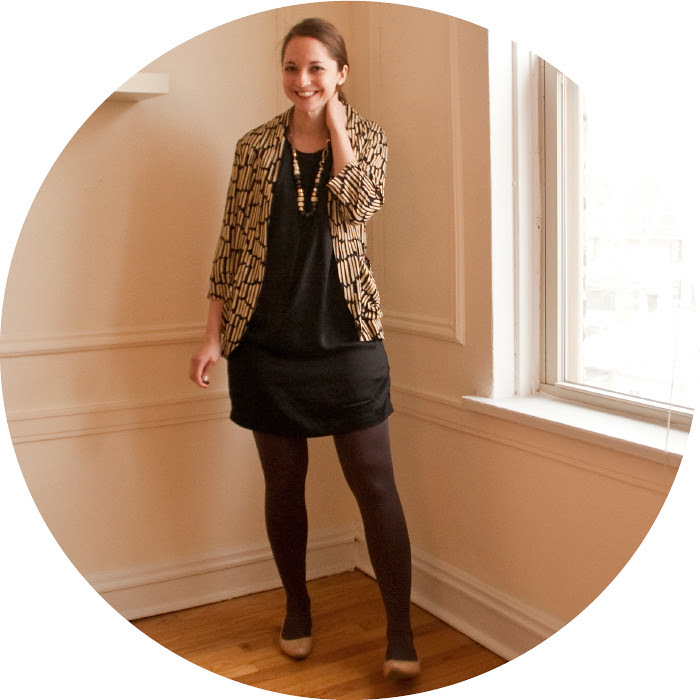 art teacher outfit, black dress, open front print jacket, stella and dot graceful nomad necklace, stella and dot chunky necklace, ootd, what to wear, work outfits