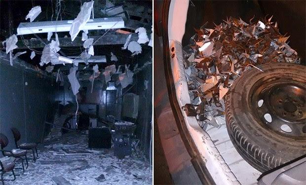 Além da explosão do caixa, criminosos usaram grampos de metal para impedir reação da polícia (Foto: Divulgação/PM)