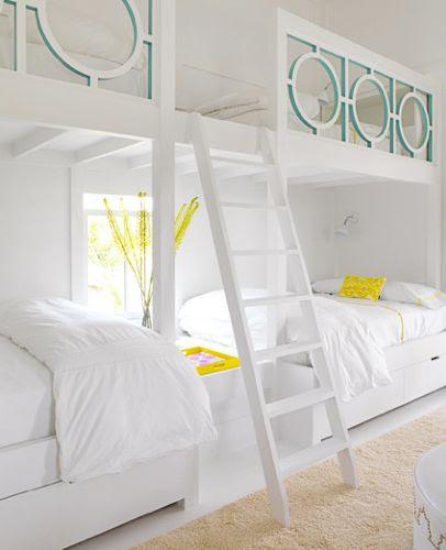 circle motif  built in bunk beds, turquoise detail inside circle