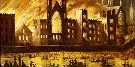 The Palace of Westminster on fire in 1834
