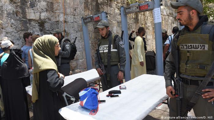 Israel verschärfte Sicherheitsvorkehrungen am Tempelberg in Jerusalem (picture-alliance/newscom/D. Hill)