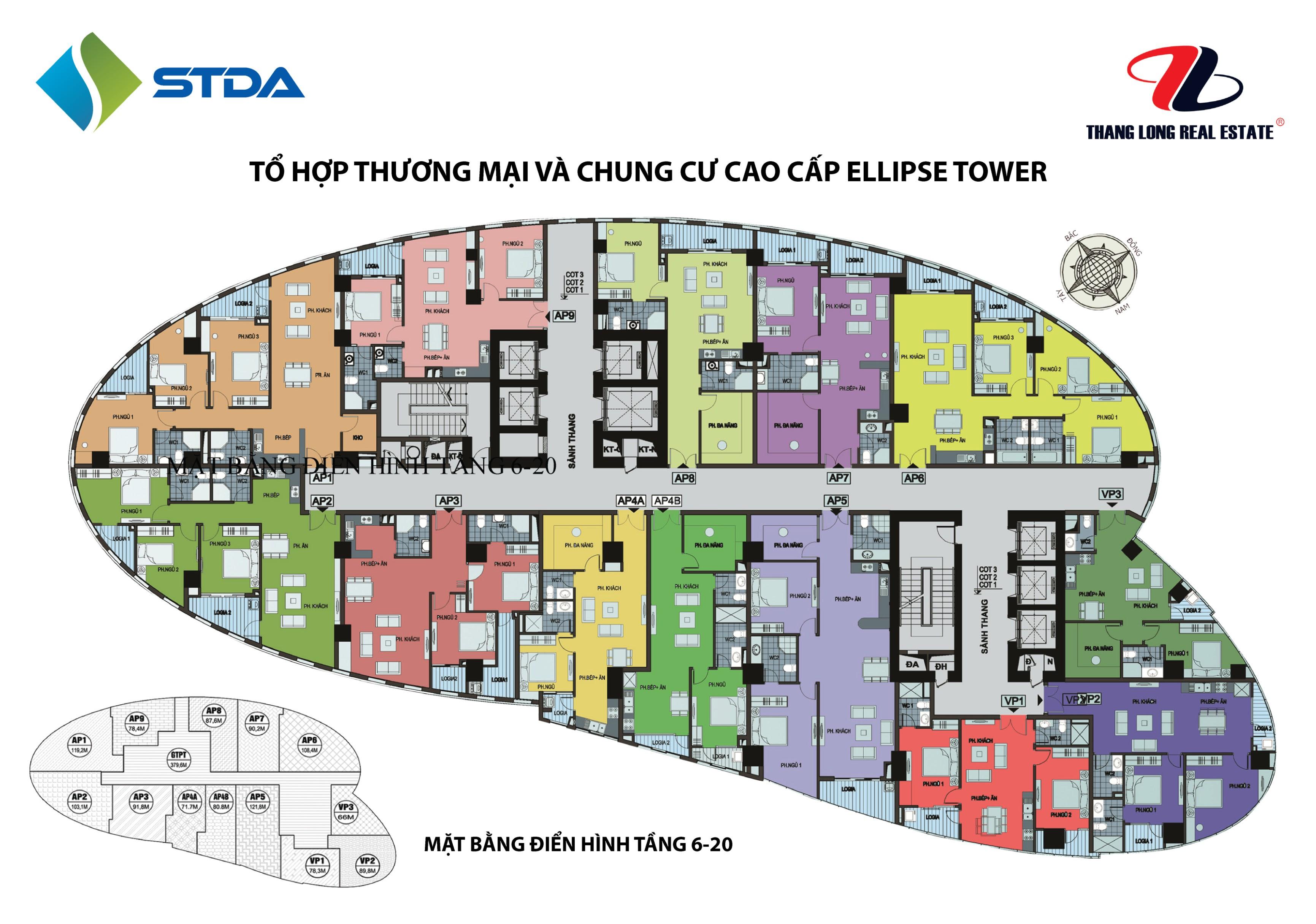 Sơ đồ mặt bằng chung cư Ellipse Tower