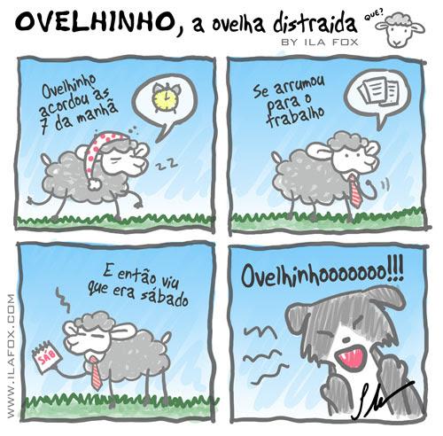 carneiro ovelha ovelhinho a ovelha distraída vai ao trabalho quadrinhos by ila fox