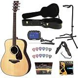 Yamaha FG730S Acoustic Guitar, Natural + Yamaha HCAG1 Guitar Case, Guitar Tripod Stand, Yamaha Quickstart DVD,...