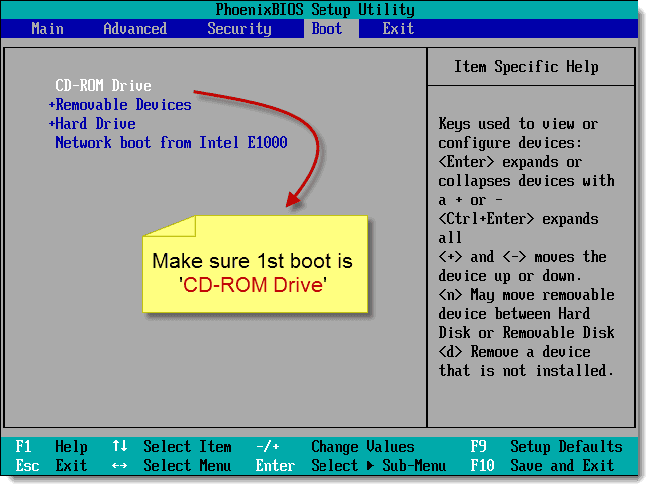 boot computer from cd first