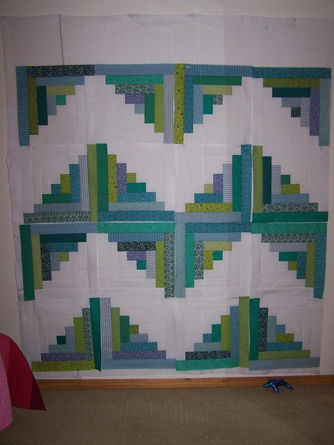 Greens Blues Log Cabin Blocks