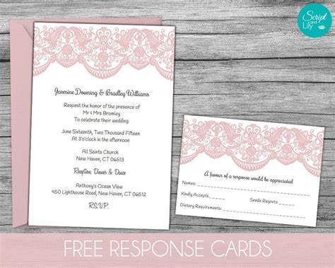 Lace Wedding Invitation Template   FREE Response Card