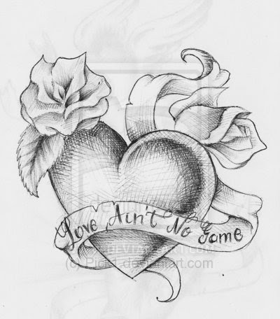Grey Banner With Rose And Heart Tattoo Design