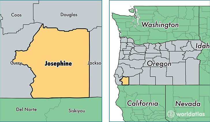 Josephine County Oregon Map Of Josephine County Or